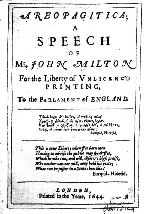 1644: John Milton's Areopagitica