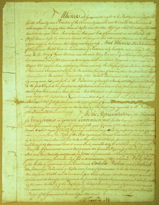 1776: Pennsylvania Constitution of 1776, Declaration of Rights